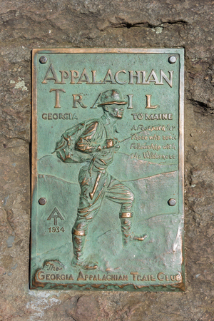 appalachian trail: A copper plaque marks the beginning of the Appalachian Trail on Springer Mountain