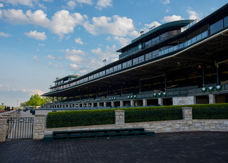Lexington, United States: May 6, 2016. Keeneland Grandstand is quiet before a busy down of racing Editorial