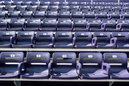 Purple Stadium Seats  with 5 seats in Front Row wide shot