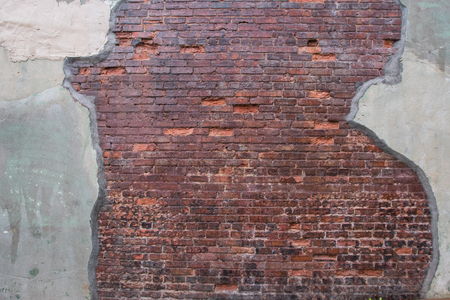 skim: Antique Brick Wall with Worn Grout Skim on Either Side