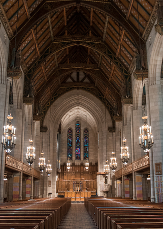 pews: Fourth Presbyterian Sanctuary interior of worship hall portrait