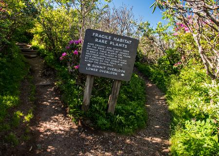 craggy: Fragile Habitat Sign at Craggy Gardens