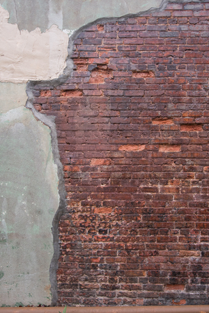 worn structure red: Antique Red Brick Wall with Grout Skim on Left vertical image
