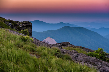 blue ridge: Sunrise Behind Tent on Rocky Outcrop in the Blue Ridge Mountains