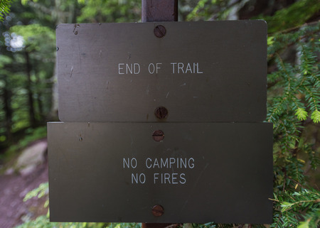 end of the trail: End of Trail Sign with simple warnings