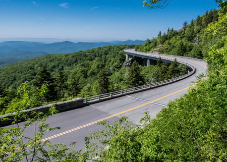 guard rail: Linn Cove Viaduct Stretches Out over rocky mountain