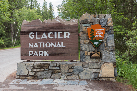 Glacier National Park: Whitefish, United States: June 25th, 2016. Entrance to the west side of Glacier National Park in Montana