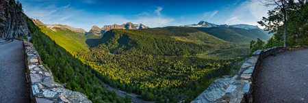guard rail: Panorama Overlooking Valley Below Logan Pass from Going to the Sun road
