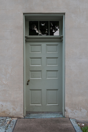 transom: Sage Green Door With Transom windows above