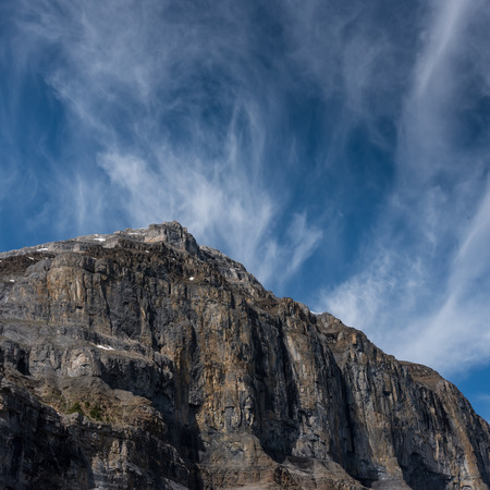 Rock Face and Sky at Stanley Glacier with copy space Stock Photo