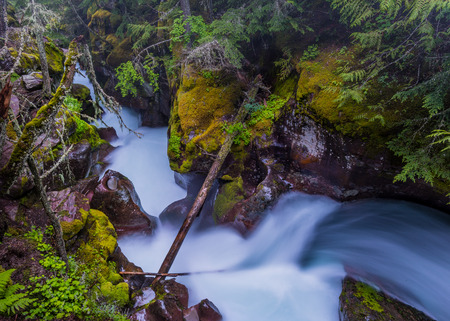 avalanche: Snow Melt Water Powers through the Rock of Avalanche Creek Stock Photo