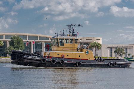 savannah: October 1, 2016: Savannah Georgia: Tugboat in the Savannah river Editorial