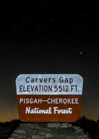 appalachian trail sign: Carvers Gap Sign on Starry Night using long exposure Stock Photo