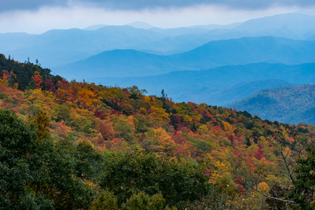 appalachian: Changing Leaves With Layers of Appalachian Mountains along the Blue Ridge Parkway Stock Photo