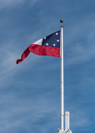 National Flag of the Confederate States waving in the wind 版權商用圖片