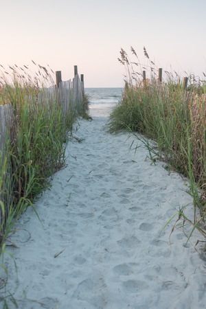 Path Over The Dunes in early morning Stock Photo