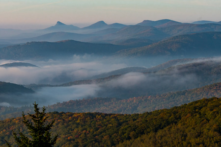 appalachian: Whispy Fog in Appalachian Mountains in early fall