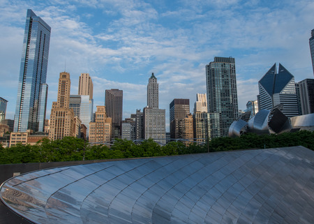 May 27, 2016: Chicago Skyline from the BP Bridge in Millenium Park