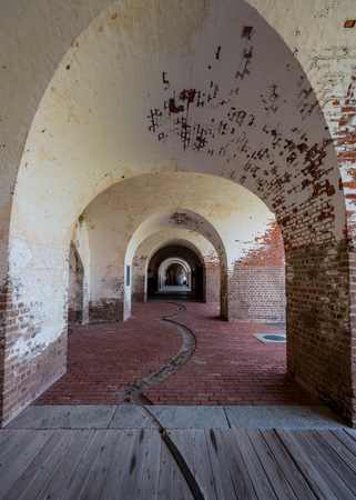 tybee island: Looking Through Vaulted Walls in an old civil war fort Stock Photo