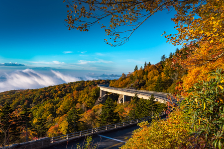 Morning Fog in the Valley Below Linn Cove Viaduct During a Vibrant Autumn