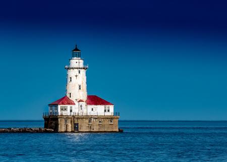 light house: Chicago Harbor Light house against Clear Blue Sky