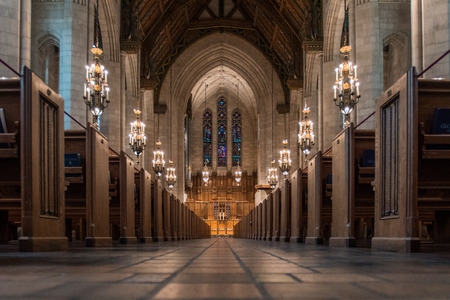 Chicago, United States: May 26th, 2016. Low angle of aisle at Fourth Presbyterian in downtown Chicago