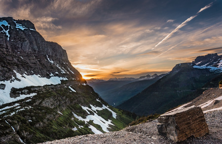 Mount Oberlin at Sunset in Montana wilderness Stock Photo
