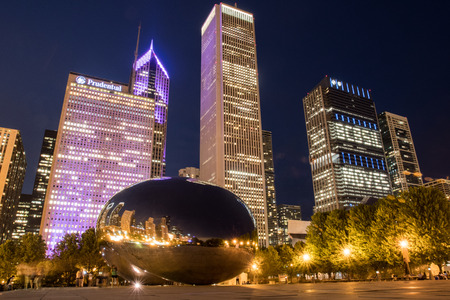 May 26, 2016: Chicago, United States: BCBSIL lights up after sponsoring an evening run and fun in the city of Chicago