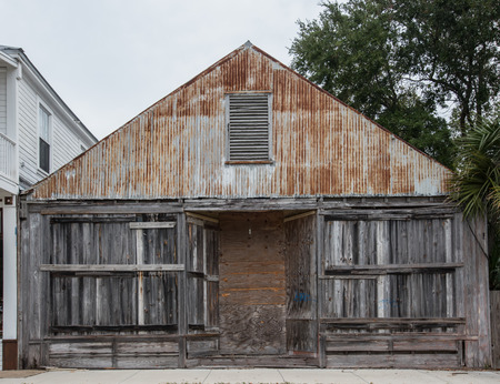 dilapidated: Wood and Metal Dilapidated Building in Warehouse District