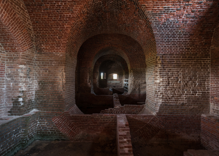 restored: Brick Fort Ruins are partially restored as a monument of the Civil War