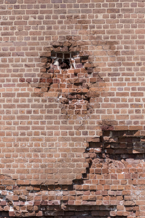 damaged: Bullet Lodged in Wall of Brick Fort from Civil Way Era