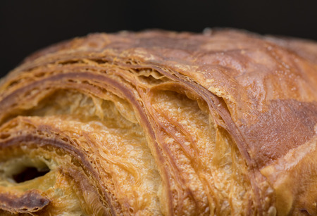 Texture of Freshly Made Chocolate Croissant close up Stock Photo