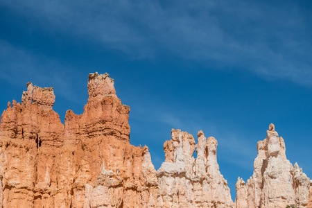 Hoodoos with Whispy Clouds and Copy Space Stock Photo