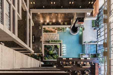 Looking Down on Atrium Fountain in interior lobby