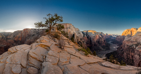 Panorama centered on Angels Landing with Virgin River winding through valley