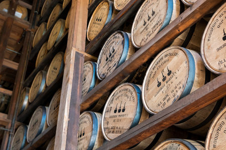 Versailles, Kentucky, United States: May 3rd, 2017: Angled View of Aging Bourbon at Woodford Reserve During Distillry Tour