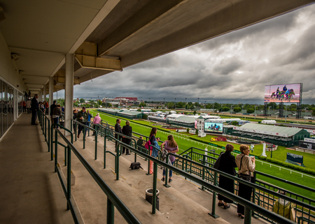 May 6th, 2015: Louisville, United States. The Balcony at Dawn at the Downs where people can watch horses doing practice laps Editorial
