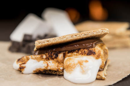 Ooey Gooey Marshmallow Smore on brown paper Stock Photo