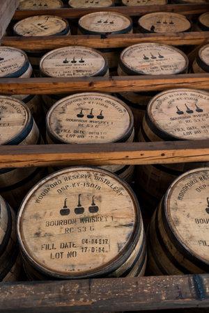 Versailles, United States: May 3, 2017: Racks of Bourbon Barrels in Warehouse Along Kentucky Bourbon Trail