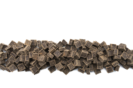 semisweet: Dark Chocolate Chunks in Row on Isolated White Background