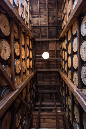 Versailles, United States: May 3, 2017: Looking Straight Up in Bourbon Warehouse Along Kentucky Bourbon Trail Editorial