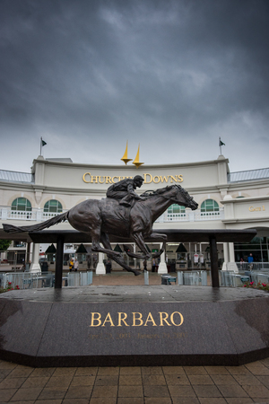 Louisville, United States: May 4, 2017: Barbaro Statue at Entrance to Churchill Downs