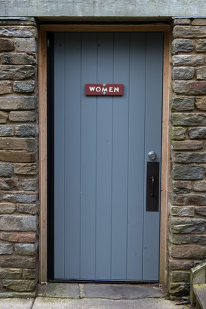 latrine: Rustic Womens Room Door to rest area services