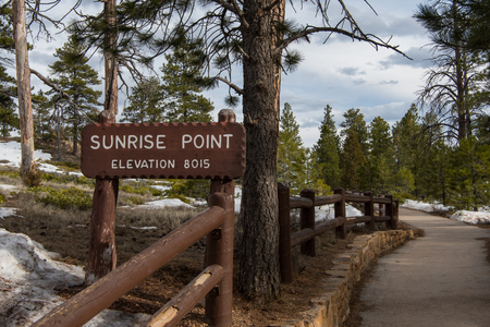 Sunrise Point Sign along the rim trail in Bryce Canyon Editorial