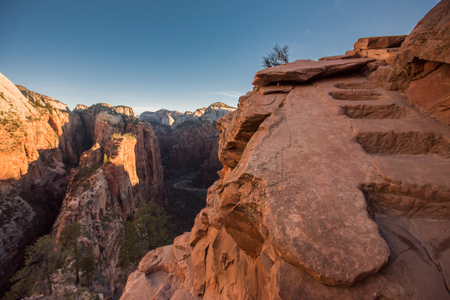 Steps Carved in the Stone of Angels Landing near the summit