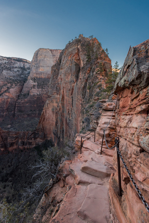 Trail and Chains Clinging to the Edge of Angels Landing Trail in Zion