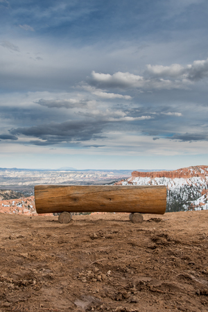 Log Bench Overlooking Bryce in early spring