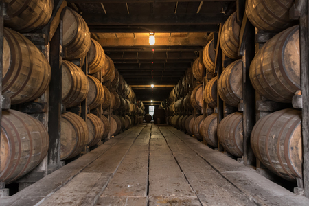 Low Angle of Bourbon Aging Warehouse Walkway in basement storage