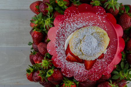 Close Up of Top of Strawberry Shortcake dusted with powdered sugar