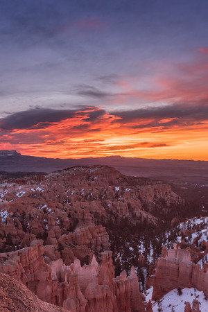 Vibrant Sunrise Rises Over Mesa in Bryce Canyon Stock Photo